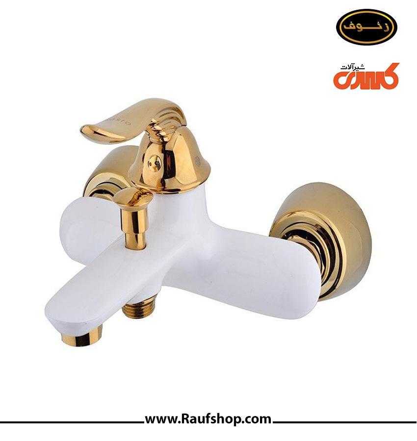 شیر دوش حمام رایان مدل سفید طلایی