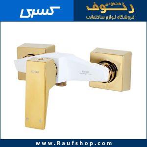شیر دستشویی شیرآلات کسری مدل کنکورد سفید طلایی